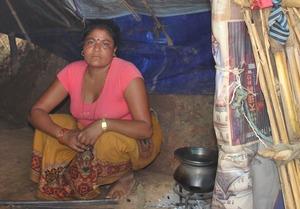 Balmaya in her straw mat home
