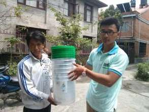 Filter provided to EQ affected families of Nuwakot