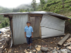 A temporary shelter in Hagam, Sindhupalchok