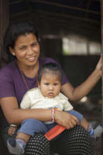 Mother and child living in temporary housing.