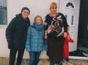 Volunteers Jack and Mabel with Nurije