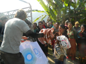 Blankets being distributed