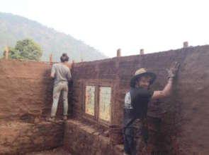 Volunteers working on Bamboo/Mud Room