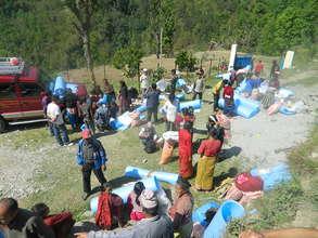 Plastic tarp for temporary shelter
