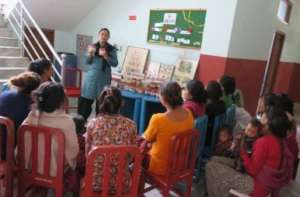 Mothers learning about nutrition at the NRH