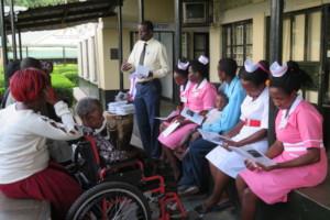 Nurses at Bwindi Hospital training w/GO's CEM tool