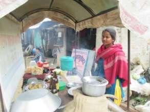 Santoshi at her food stall