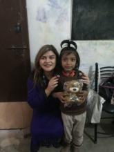 Presenting a teddy to Haiya