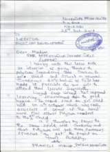 Letter of Thank you from one of our Partner School