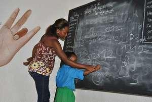 Student learning basic math