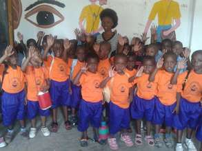 Vulnerable children with new sports wear
