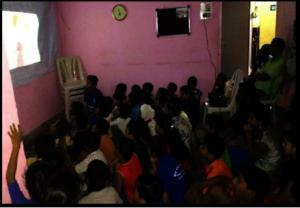 Children watching movie