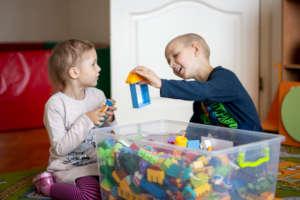 Makar and Yeva playing at the Dacha