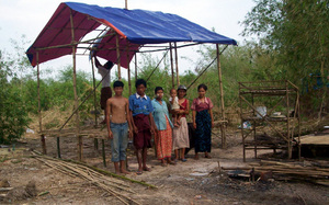 A shelter constructed using bamboo and plastic sheeting