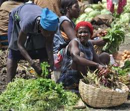 Woman selling her harvest in the local market