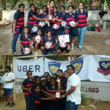 Students participating in Football tournament