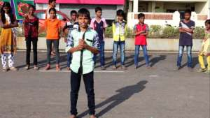 Student Manoj's performance(author of the poetry)
