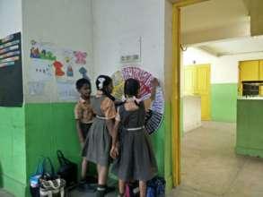 Students at Vidyaniketan working with their team