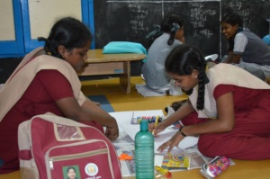 Students engaged in an activity at CSK