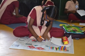 Student participating in arts competition