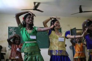 Students performing a dance at CSK
