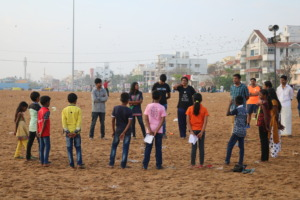 At Besant Nagar Beach, before their performance