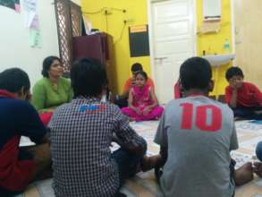 Students at a learning circle with Divya