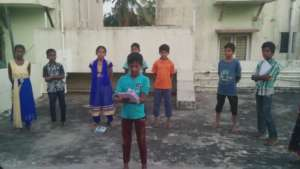 Student practising slam poetry during rehearsals