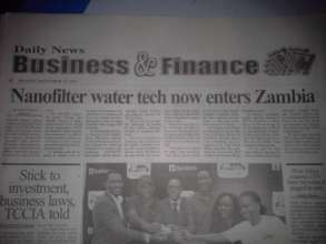 Daily New Report - on Nanofilter entering Zambia