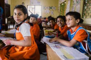 School children learning about hygiene
