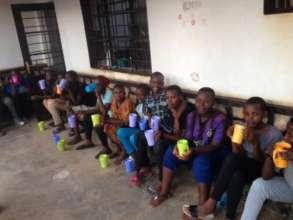 Girls eating porridge after IT class