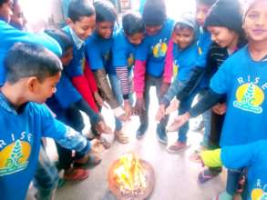 Children celebrates Lohri