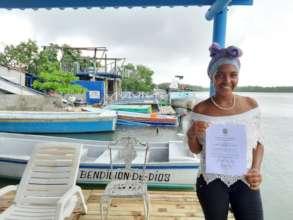 Karen with her Diploma