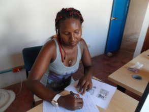 Interested entrepreneur filling the credit form