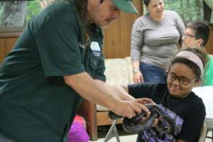 Girl Scouts Beyond Bars Participant at summer camp