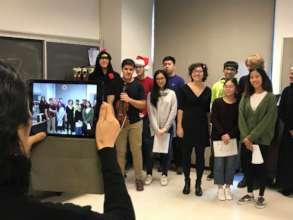 Stuyvesant students making a video message
