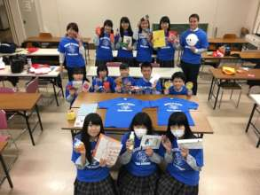Yumoto HS students wearing their new shirts