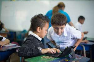 Boys developing their English proficiency