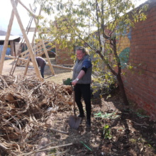 Emily, NGO Assistant, helping improve our garden!