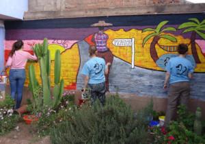 Durham University perfecting their new mural