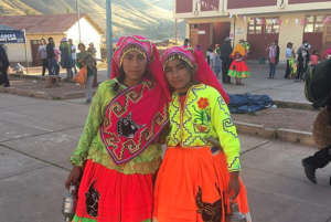 Our students dance in the village