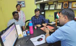 Discussing in office on management etc.