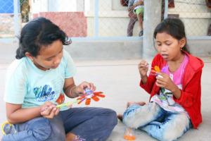 Children at Chumkriel School enjoy an art class