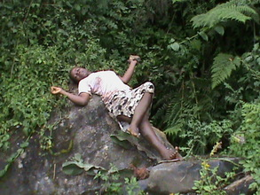 A girl enjoys nature at the excursion in cherangan