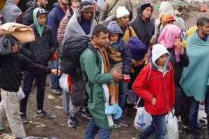 Refugees bundled up in Serbia