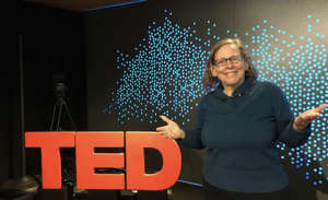 Rehearsing onstage at TED
