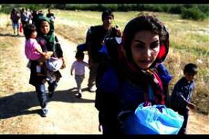 Refugees with Children on the Road in Serbia