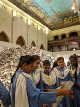 Students at the Frere Hall installation