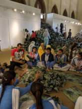 Making the installation with Imran Qureshi