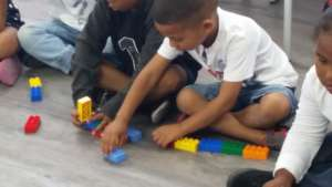 Euston concentrating during the 6 Bricks Activity